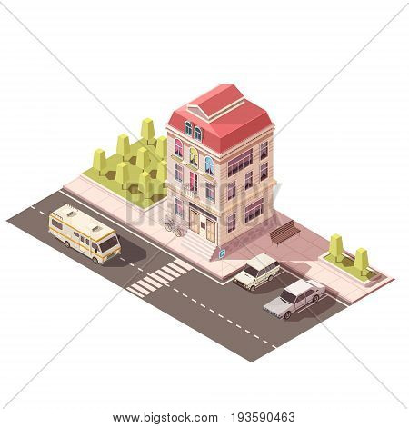 Residential house with arched windows, porch with ladder, red roof, parking, road infrastructure isometric mockup vector illustration