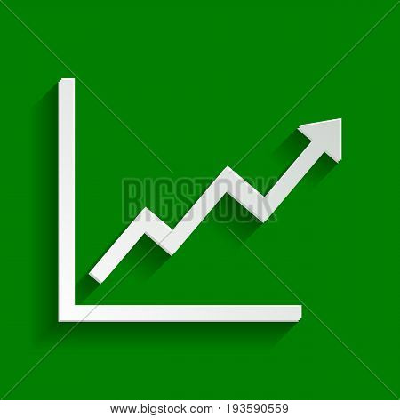 Growing bars graphic sign. Vector. Paper whitish icon with soft shadow on green background.