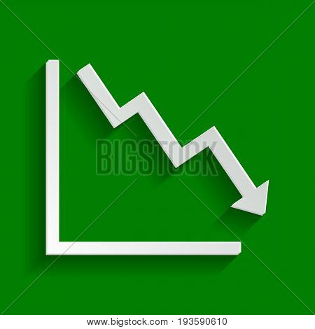 Arrow pointing downwards showing crisis. Vector. Paper whitish icon with soft shadow on green background.