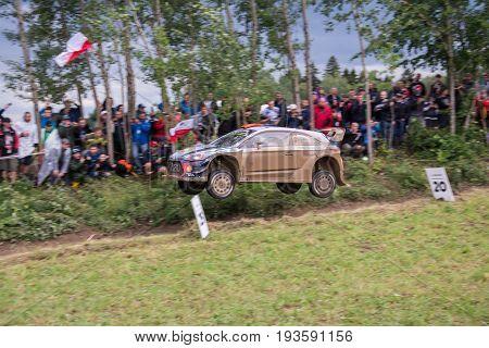 MIKOLAJKI, POLAND - JUN 30: Dani Sordo and his codriver Marc Marti in a Hyundai New Generation i20 WRC race in the 74nd Rally Poland, on June 30, 2017 in Mikolajki, Poland.