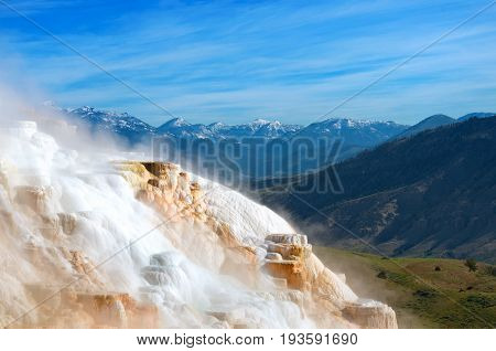 Mammoth Hot Springs In Yellowstone National Park. Usa