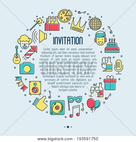 Event invitation concept, organization of birthday party, catering service banner with thin line icons of clown, birthday cake, balloon decoration, DJ, food and beverages. Vector illustration.
