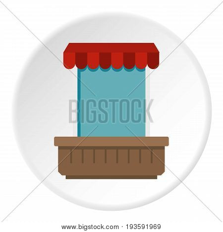 Window with canopy icon in flat circle isolated vector illustration for web