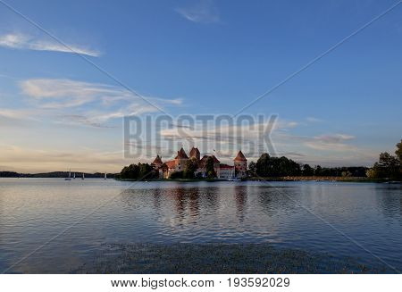 Trakai Castle - Island castle in Trakai is one of the most popular tourist destinations in Lithuania, houses a museum and a cultural centre. Lithuania,old capital Trakai. Sunset in Trakai, Lithuania
