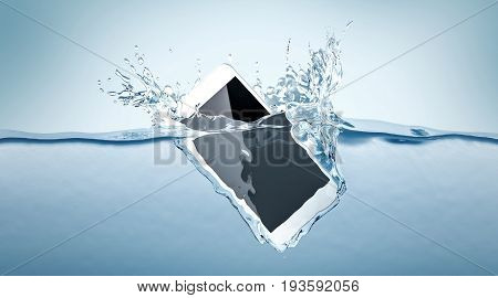 White smartphone mockup fall in water 3d rendering. Mobile smart phone with touch screen mockup sinks under liquid surface. Electronic waterproof cellphone falling and dive with splashes.