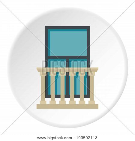 Classic balcony balustrade with window icon in flat circle isolated vector illustration for web