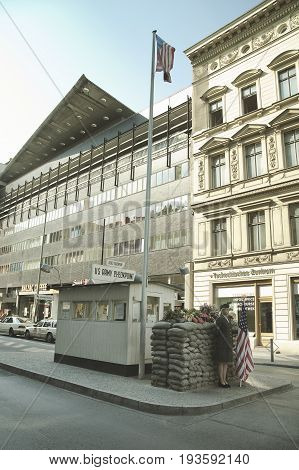 Checkpoint Charlie - symbol of the Cold War representing the separation of East and West. September 1 2005 - Berlin Germany