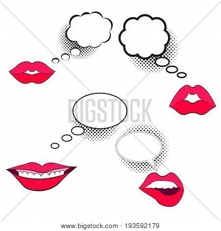 Comic speech bubble with halftone effect, female lips, set. Bright dynamic cartoon illustration isolated on white. Blank template comic text speech bubble style pop art. Dialog empty cloud, balloon.