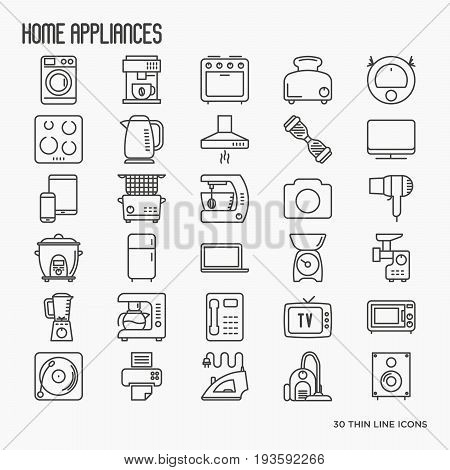 Home appliances thin line icons: refrigerator, coffee machine, microwave, fryer. Household vector illustration.