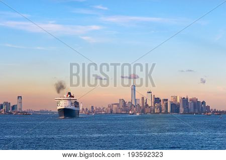 New York City USA - October 11 2016: Transatlantic ocean liner Queen Mary 2 in New York Harbor.