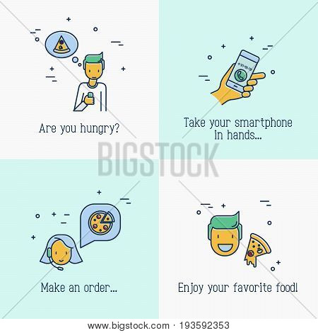 Concept of ordering pizza. Man makes an order via app on smartphone, operator from call center of restaurant confirms the order, man is eating slice of pizza. Vector illustration with thin line icons.