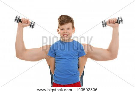 Dad hiding behind son and showing muscles on white background