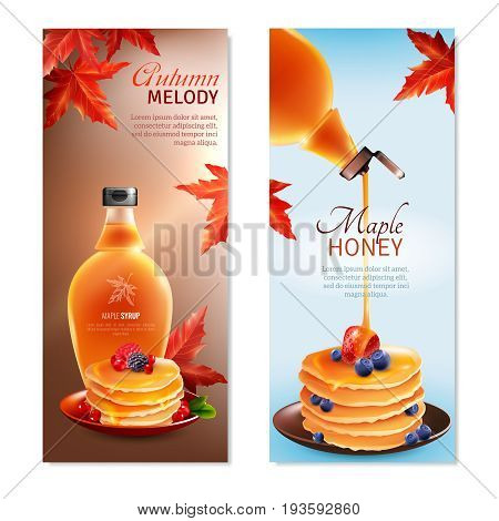 Maple syrup horizontal banners set with autumn melody symbols cartoon isolated vector illustration