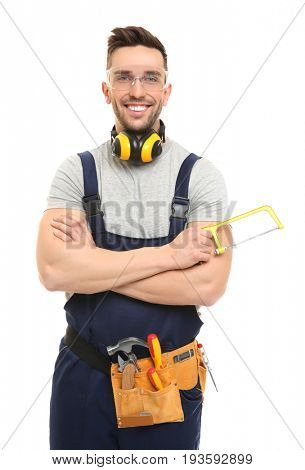 Young carpenter wearing uniform on white background