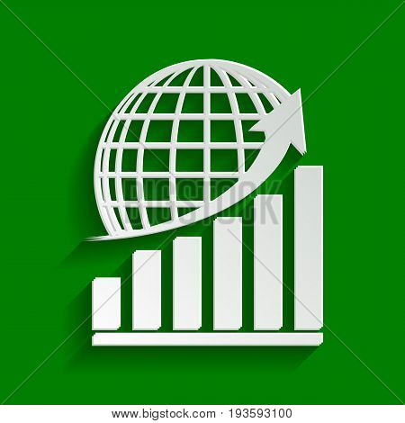 Growing graph with earth. Vector. Paper whitish icon with soft shadow on green background.
