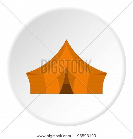 Orange tent for forest camping icon in flat circle isolated vector illustration for web