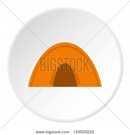 Tent icon in flat circle isolated vector illustration for web