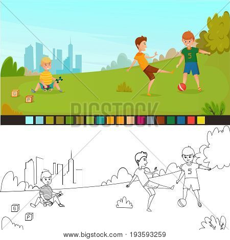 Coloring page kids composition with two pics not painted and painted for childrens creativity vector illustration