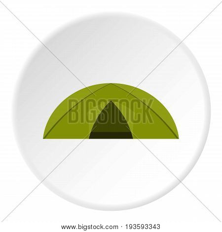 Green tent for camping icon in flat circle isolated vector illustration for web