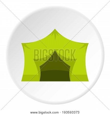 Camping equipment icon in flat circle isolated vector illustration for web