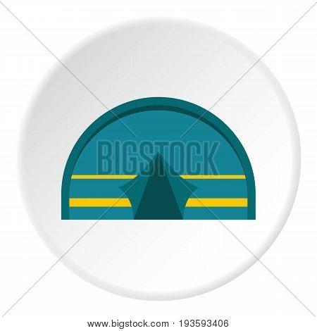 Blue touristic camping tent icon in flat circle isolated vector illustration for web