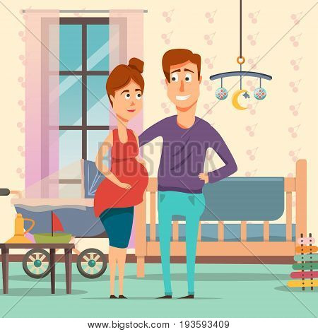Pregnancy cartoon composition with future parents in room with baby objects including cot, pram, toys vector illustration