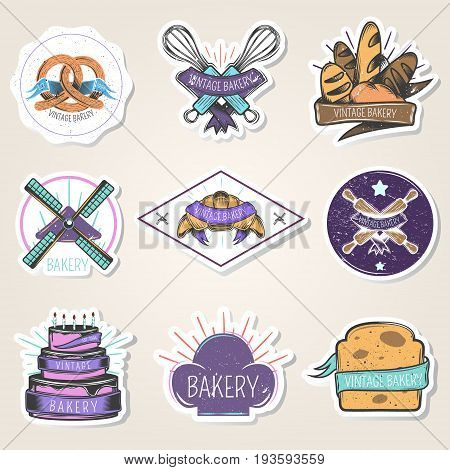 Bakery set of stickers with flour products, culinary tools, windmill, design elements, vintage style isolated vector illustration