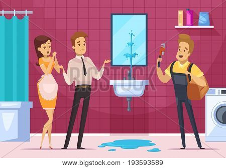 Plumber coming to remove the blockage in pipe and family couple in bathroom interior flat vector illustration