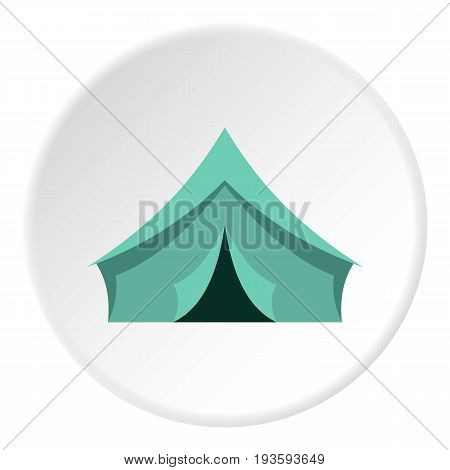 Turquoise tent icon in flat circle isolated vector illustration for web