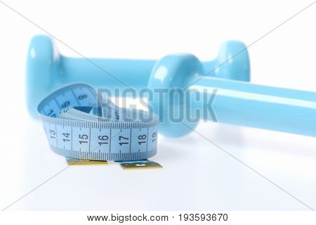 Cyan Blue Measuring Tape And Light Plastic Dumbbells
