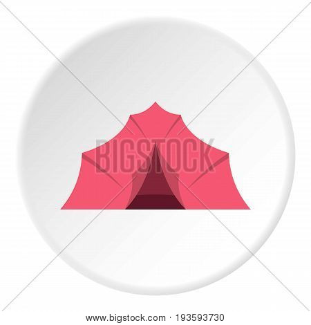 Pink tent for camping icon in flat circle isolated vector illustration for web