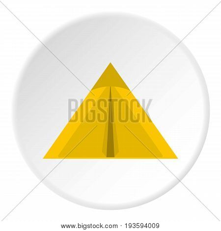 Yellow tourist tent for travel and camping icon in flat circle isolated vector illustration for web