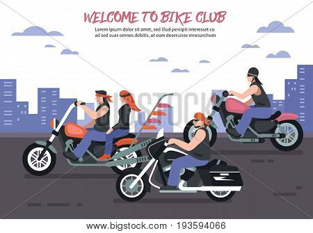 Biker club background with men women riding motorbikes in the city flat vector illustration