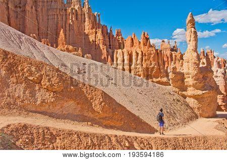 Hiker in Bryce Canyon National Park Utah USA