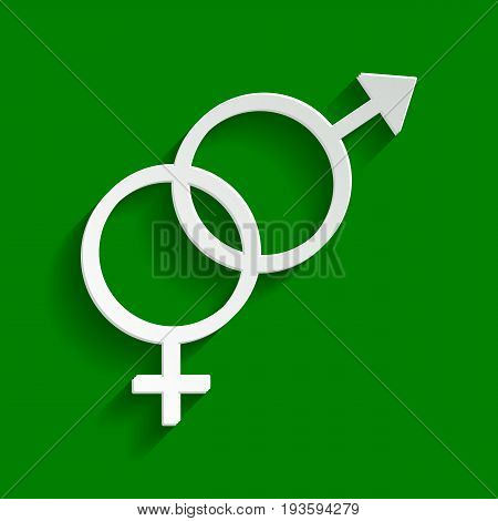 Sex symbol sign. Vector. Paper whitish icon with soft shadow on green background.