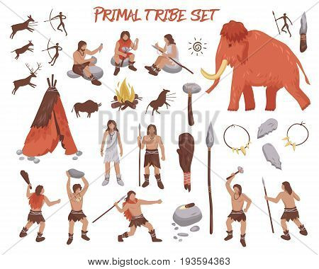 Primal tribe people icons set with weapon and animals flat isolated vector illustration