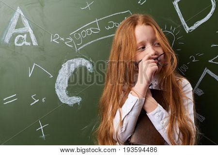 Little girl, child, pupil, school, classroom, schoolgirl, study.