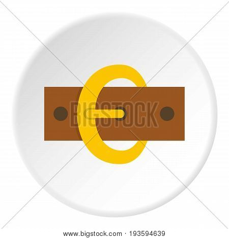 Gold oval buckle icon in flat circle isolated vector illustration for web