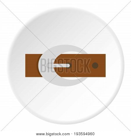 Brown elegant leather belt with silver buckle icon in flat circle isolated vector illustration for web