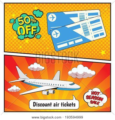 Discount air tickets comic style banners with plane, speech bubbles on yellow red background isolated vector illustration