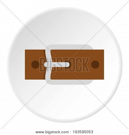 Leather belt with silver buckle icon in flat circle isolated vector illustration for web