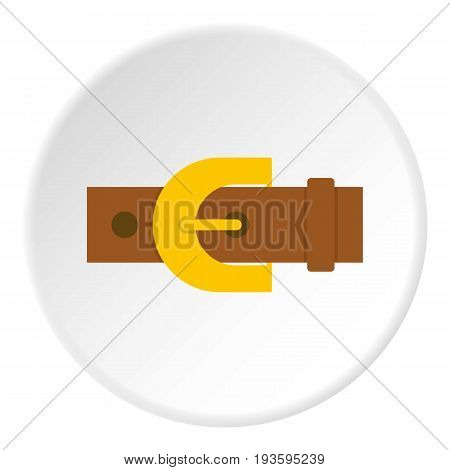 Brown elegant leather trousers belt icon in flat circle isolated vector illustration for web