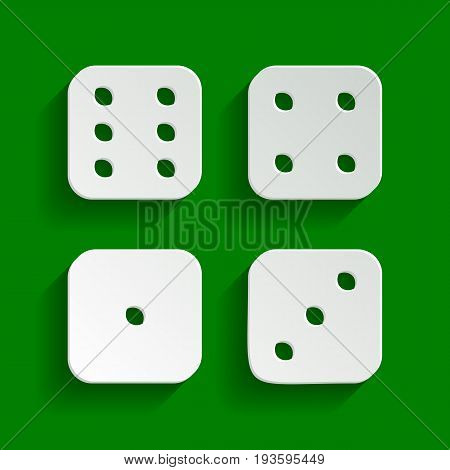 Devils bones, Ivories sign. Vector. Paper whitish icon with soft shadow on green background.