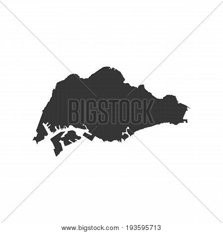 Singapore map on the white background. Vector illustration