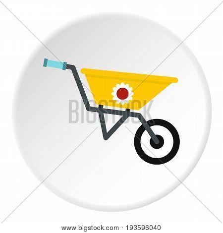 Garden wheelbarrow icon in flat circle isolated vector illustration for web
