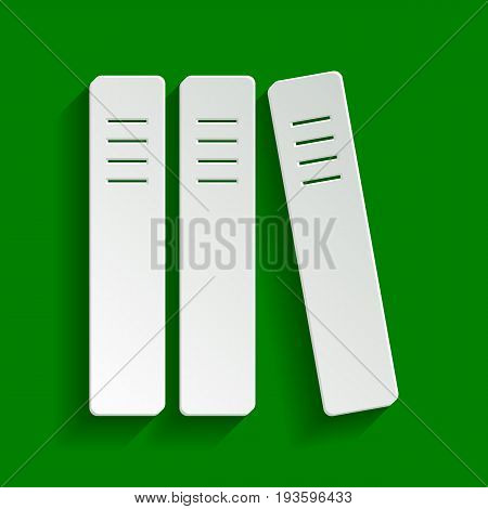 Row of binders, office folders icon. Vector. Paper whitish icon with soft shadow on green background.