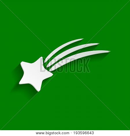 Meteor shower sign. Vector. Paper whitish icon with soft shadow on green background.