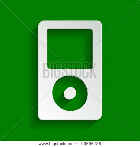 Portable music device. Vector. Paper whitish icon with soft shadow on green background.