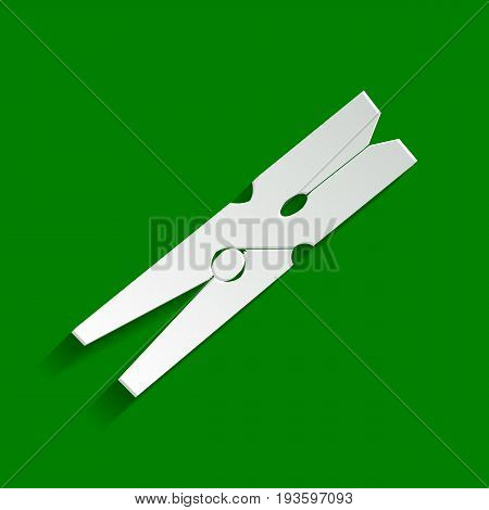 Clothes peg sign. Vector. Paper whitish icon with soft shadow on green background.