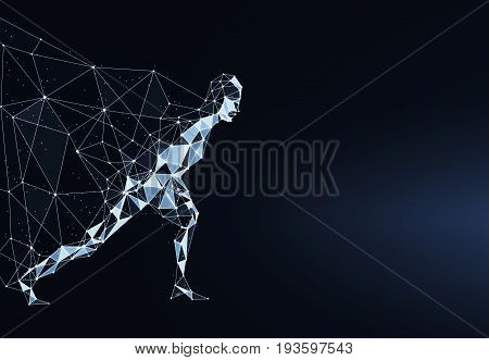 Side view of running polygonal hero with cape on dark backdrop. 3D Rendering
